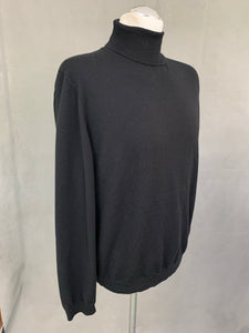 HUGO BOSS Mens EXTRAFINE MERINO Black Roll Neck JUMPER Size XL Extra Large