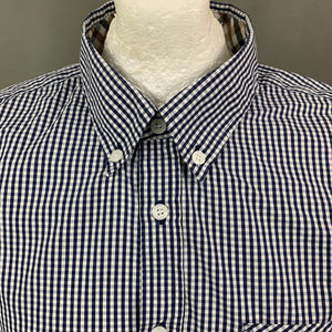 AQUASCUTUM Mens Blue Check SHIRT with VICUNA CLUB Collar Size XL - Extra Large