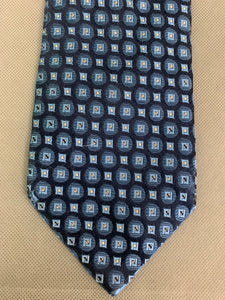 ERMENEGILDO ZEGNA Mens Blue 100% SILK Patterned TIE