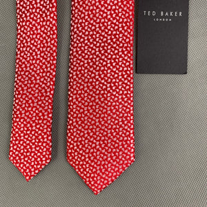 New TED BAKER Mens Red 100% SILK Micro Paisley CONURE 5.5cm TIE - BNWT