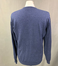Load image into Gallery viewer, LACOSTE Mens Blue Wool V-Neck JUMPER LACOSTE Size 4 - Medium M