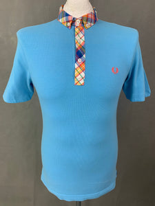 FRED PERRY Mens Blue SLIM FIT Short Sleeved POLO SHIRT Size S Small