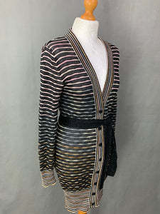 MISSONI Ladies Wool Blend Striped Waist Tie CARDIGAN UK 10 - IT 42 Made in Italy