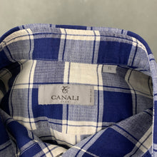 Load image into Gallery viewer, CANALI Mens Linen Blend Blue Check Pattern SHIRT - Size XL Extra Large
