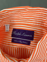"Load image into Gallery viewer, RALPH LAUREN Purple Label Mens Orange Striped SHIRT Size 15"" Collar - S Small"