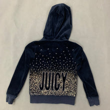 Load image into Gallery viewer, JUICY COUTURE Girls Navy Blue Velour HOODIE / HOODED JACKET - Size Age 4 - 5