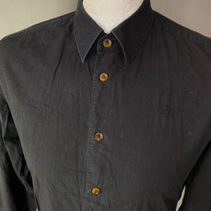 "VIVIENNE WESTWOOD MAN Black SHIRT Size It 46 - S Small - 36"" Chest"