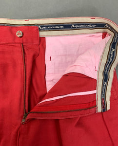 "Vintage AQUASCUTUM Mens Red TROUSERS Size Waist 32"" - Leg 31"""