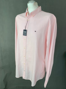 New TOMMY HILFIGER Mens ENGINEERED OXFORD Pink SHIRT - Size 2XL XXL BNWT