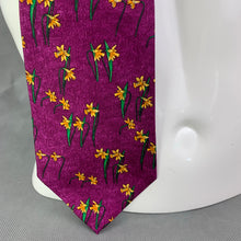Load image into Gallery viewer, DUNHILL Mens Purple 100% SILK Daffodil Pattern TIE - Made in Italy