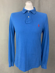POLO RALPH LAUREN Mens Blue Long Sleeved POLO SHIRT Size Medium M