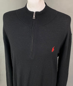 RALPH LAUREN Mens Black MERINO WOOL Zip Neck JUMPER Size XXL 2XL