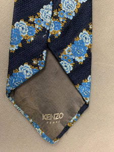 KENZO HOMME Mens 100% SILK Blue Floral TIE - Made in Italy