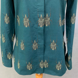 PAUL SMITH Ladies SOHO FIT BEETLE GRAPHIC BLOUSE / SHIRT Size Small S UK 10