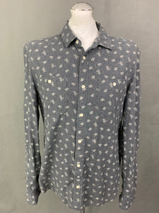 ALLSAINTS Mens SHUTTLE NOTES FABRIC Grey SHIMANE L/SLV SHIRT Size Large L