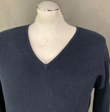 Load image into Gallery viewer, ARMANI Mens Blue V-Neck JUMPER - Size Large - L