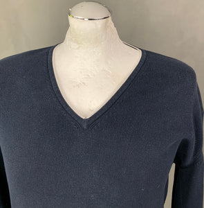 ARMANI Mens Blue V-Neck JUMPER - Size Large - L