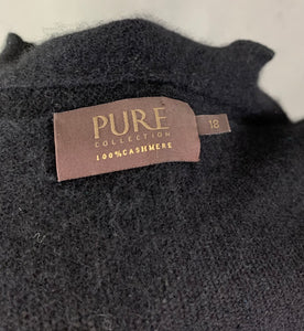 PURE COLLECTION Ladies Black 100% CASHMERE CARDIGAN - Size UK 18