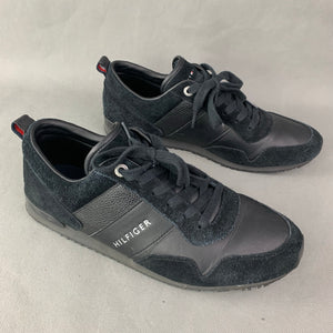 TOMMY HILFIGER Mens Black SUEDE MIX RUNNER TRAINERS / SHOES Size UK 10 - EU 44