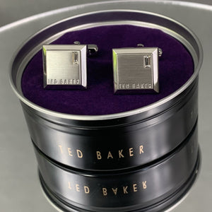New TED BAKER Grey GOLCUFF Contrast Square CUFFLINKS with Presentation Box