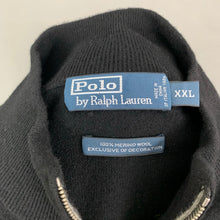 Load image into Gallery viewer, RALPH LAUREN Mens Black MERINO WOOL Zip Neck JUMPER Size XXL 2XL