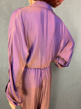 Load image into Gallery viewer, GUCCI Iridescent Purple & Bronze Silk Blend JUMPSUIT - Size IT 40 - UK 8 - XS