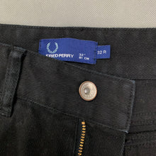 "Load image into Gallery viewer, FRED PERRY Mens Black Denim Straight Leg JEANS Size 32R Waist 32"" Leg 32"""