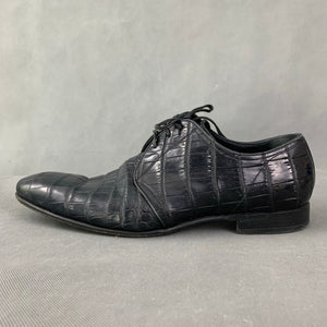 DOLCE & GABBANA Mens Mock Croc Black Leather Dress Shoes - Size UK 9 - EU 43