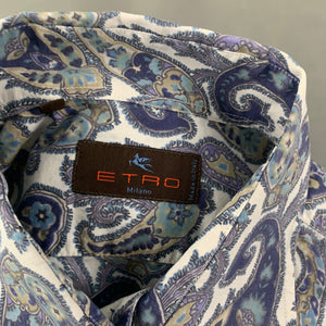 ETRO MILANO Mens Paisley Pattern SHIRT - Size Large - L - Made in Italy