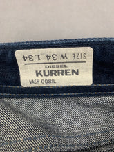 "Load image into Gallery viewer, DIESEL Mens KURREN Blue Denim Straight Leg JEANS Size Waist 34"" - Leg 34"""