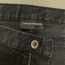 "Load image into Gallery viewer, EMPORIO ARMANI Mens Black Denim Straight Leg JEANS Size Waist 38"" - Leg 30"""