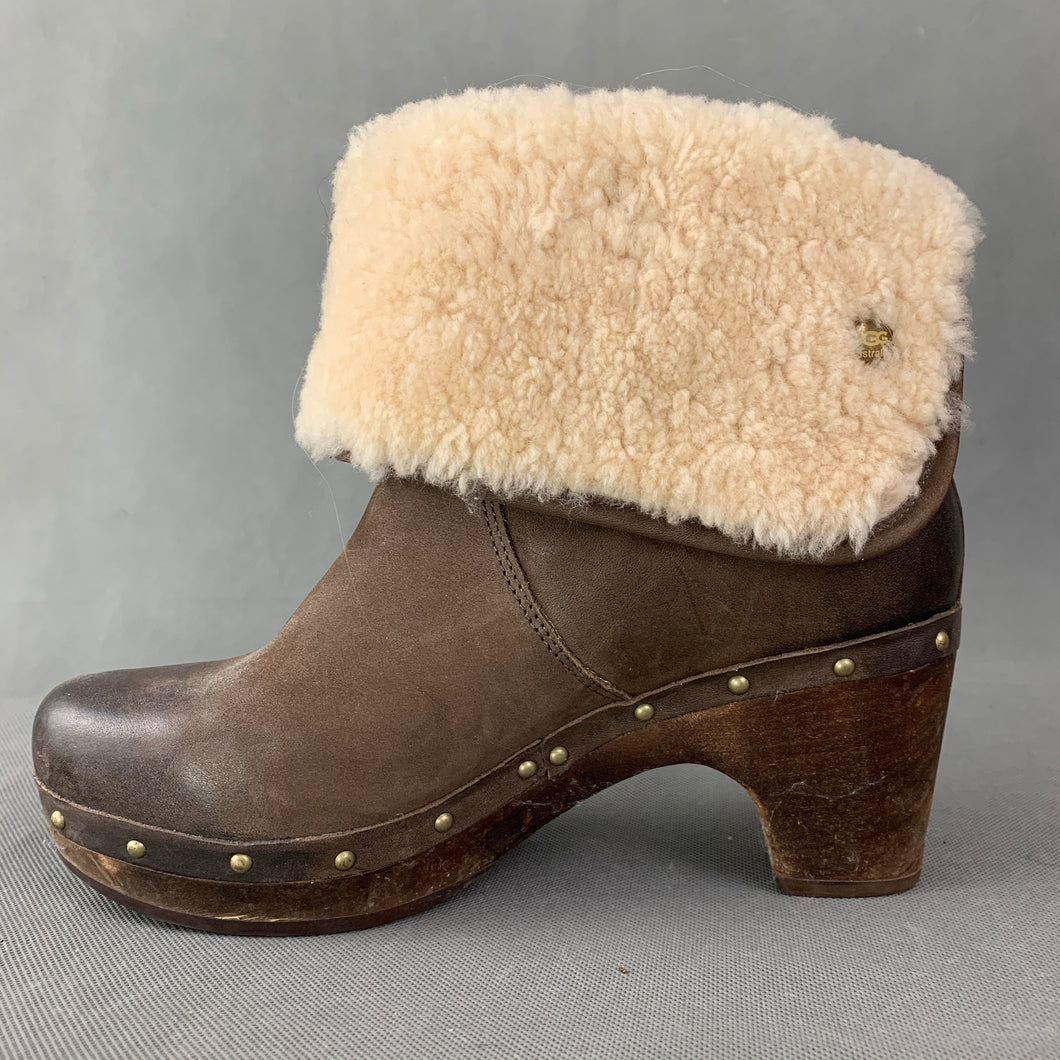 UGG AUSTRALIA Brown Mid Heel Sheepskin Trimmed Ankle BOOTS Size EU 38 - UK 5.5 - US 7 UGGS
