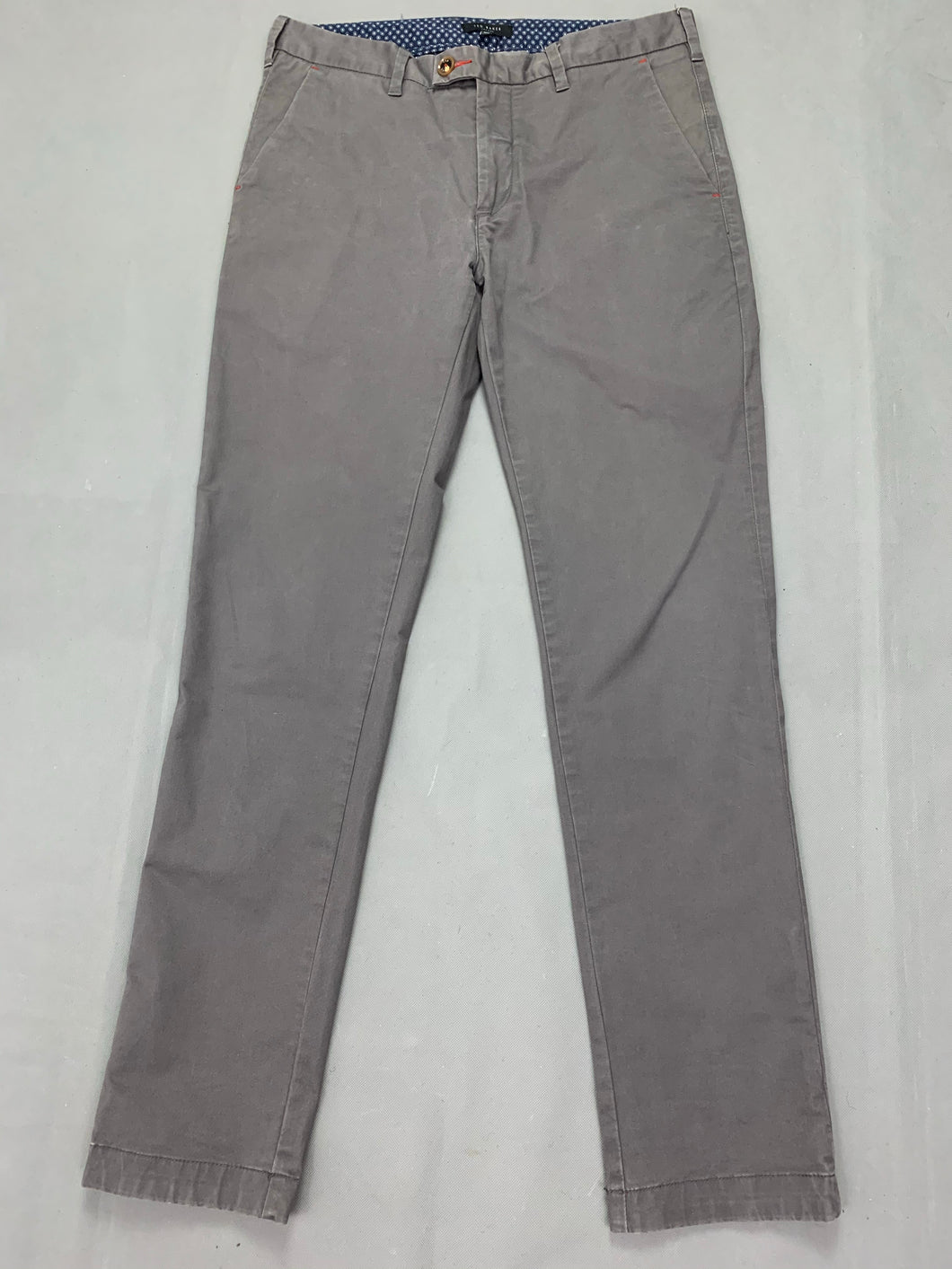 TED BAKER Mens SORCOR Grey Tapered Leg TROUSERS Size 32R Waist 32