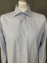 "Load image into Gallery viewer, DUNHILL London Blue Striped Engineered Fit SHIRT Size 16.5"" Collar - XL"