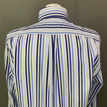 Load image into Gallery viewer, HACKETT Mens 100's 2 Ply Cotton Blue Striped SHIRT Size LARGE L