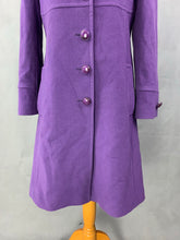 Load image into Gallery viewer, HOBBS London Ladies Purple Cashmere Blend COAT - Size UK 10