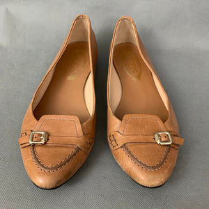 TOD'S Ladies Brown Leather Flat Pointed Shoes - Size 38.5 - UK 5.5 - TODS