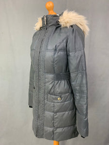 JUICY COUTURE Ladies Grey DOWN FILLED Quilted COAT Size Small S
