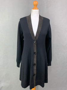 D.EXTERIOR Ladies Black Wool Blend Long CARDIGAN - Size LARGE L