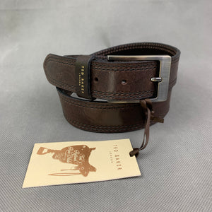 "New TED BAKER London Brown 100% Italian Leather BELT - Size 30"" Waist"