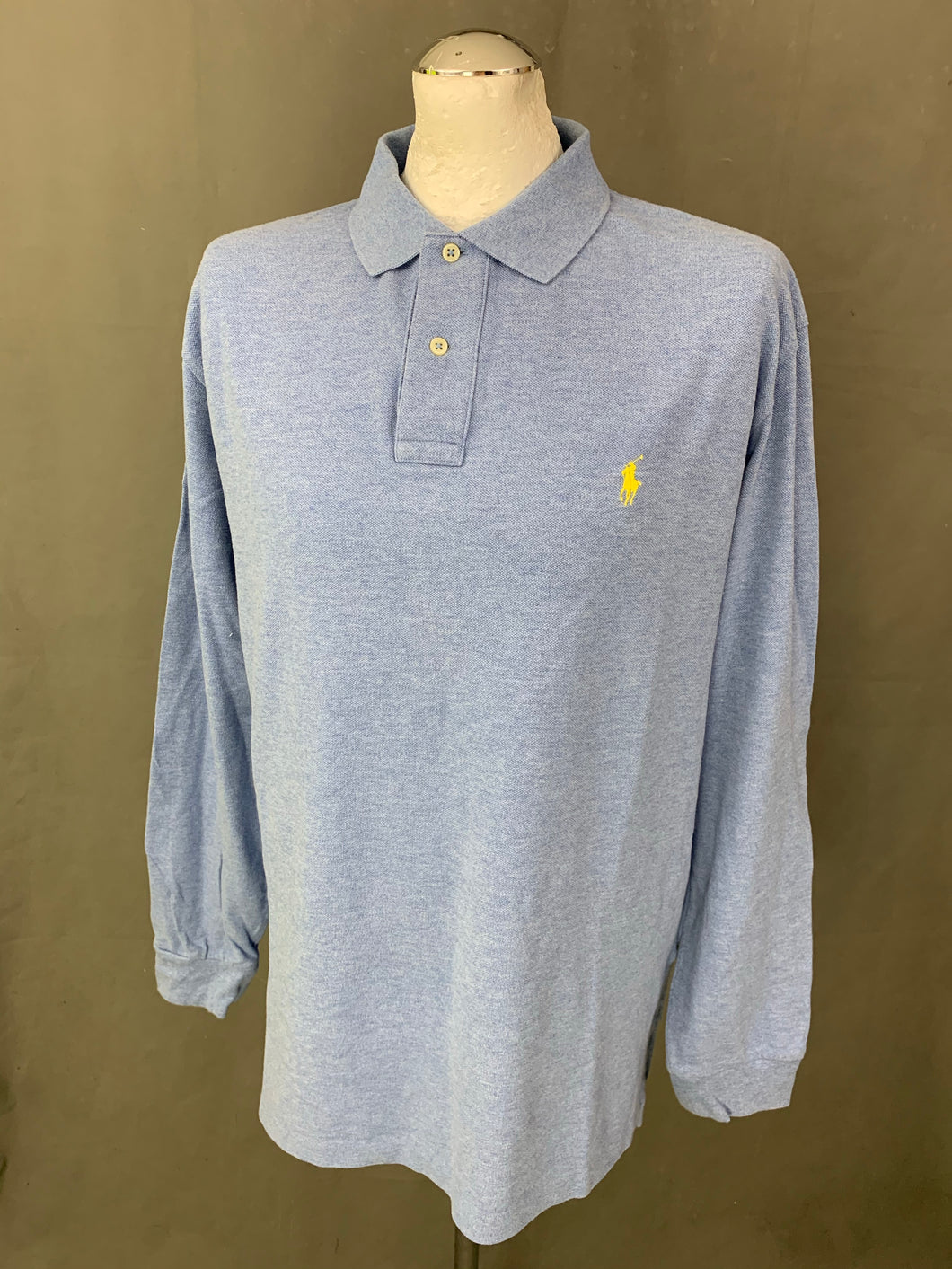 POLO RALPH LAUREN Mens Blue Long Sleeved POLO SHIRT Size XL Extra Large