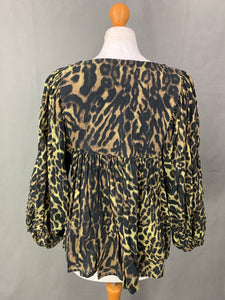 RALPH LAUREN Ladies Leopard Print Bell Sleeve SMOCK TOP Size XS Extra Small