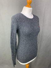 Load image into Gallery viewer, RALPH LAUREN Ladies MERINO WOOL Grey Cable Knit JUMPER Size M Medium