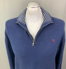 Load image into Gallery viewer, HACKETT Mens Blue Italian Cotton Zip Neck JUMPER Size L Large