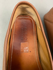 GUCCI Mens Brown Leather BEE Heel LOAFERS / SHOES Size 10 - EU 44
