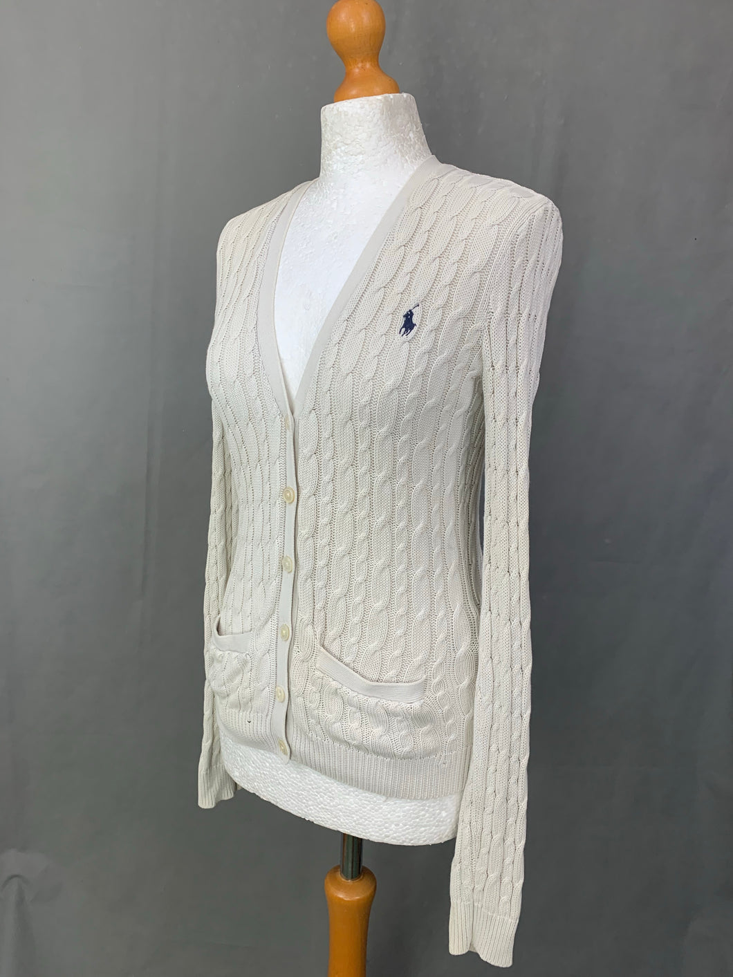 RALPH LAUREN Ladies Ivory Cable Knit CARDIGAN Size Small S