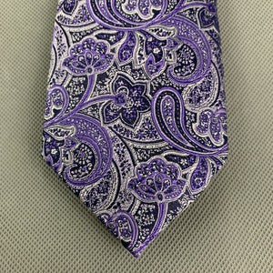 New TED BAKER Mens PIGEON Purple PAISLEY JACQUARD TIE - BNWT