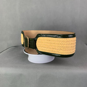 SPORTMAX Ladies Green Patent Leather BELT with Yellow Weave - Size Large L - Made in Italy