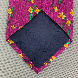 DUNHILL Mens Purple 100% SILK Daffodil Pattern TIE - Made in Italy