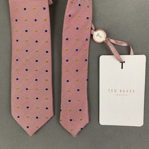New TED BAKER Mens SPOTLIGHT Red 100% Silk Dot Pattern TIE - BNWT